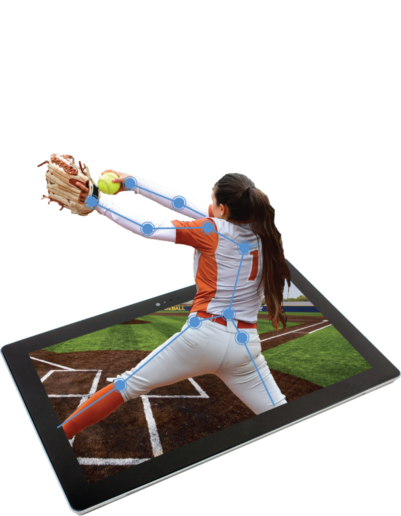 Softball Pitcher Throwing with SportsTrace annotation