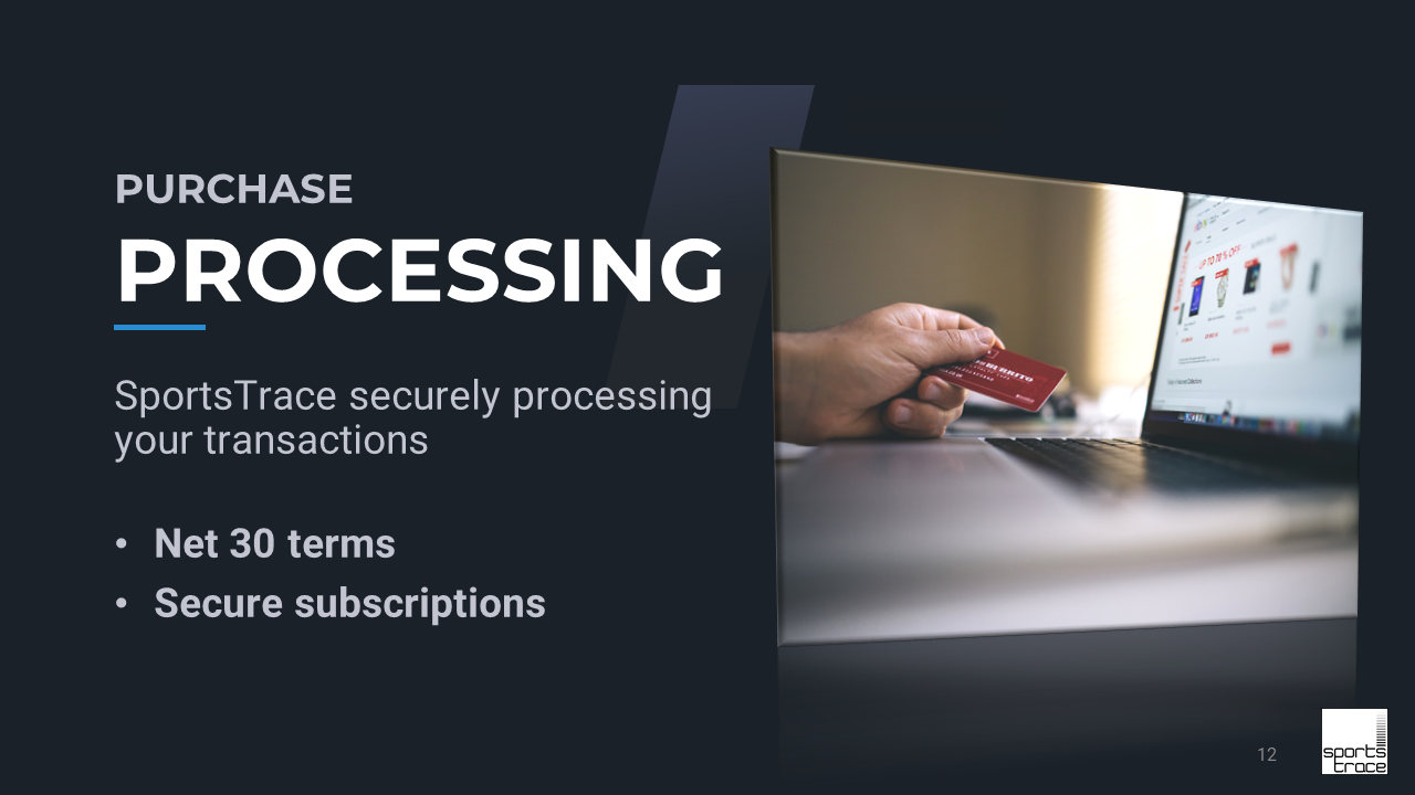 SportsTrace payment processing slide Facility Model