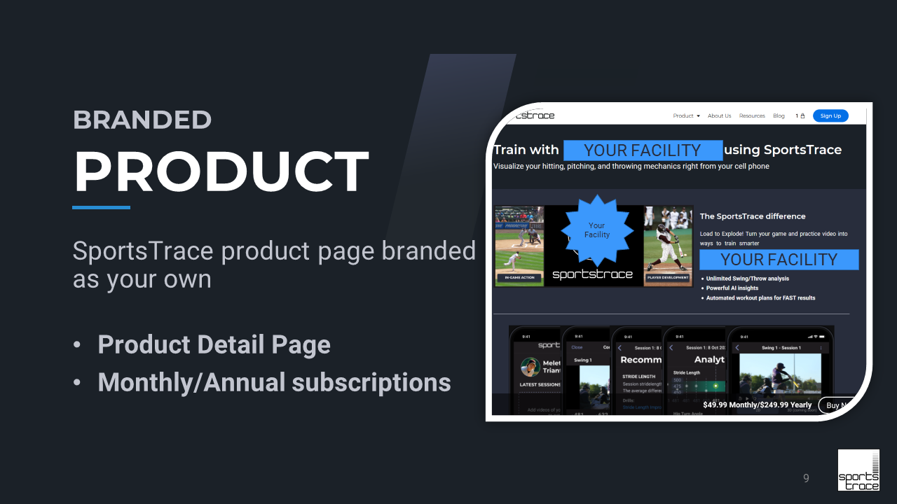 SportsTrace product page slide Facility Model